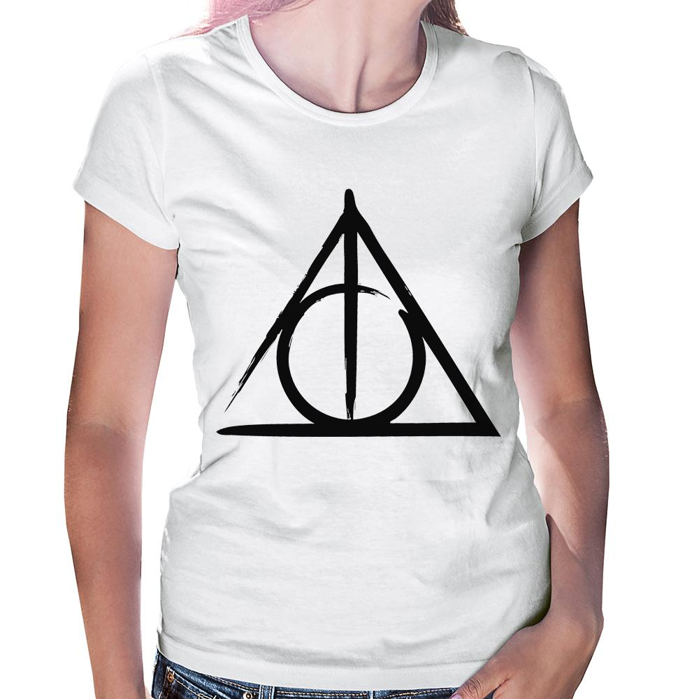 Camiseta Baby Look Harry Potter Relíquias da Morte