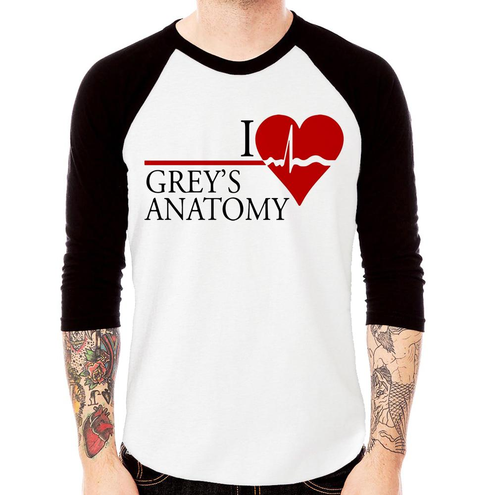 Camiseta Raglan I Love Grey's Anatomy Manga 3/4